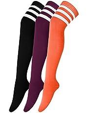 Urban GoCo Overknee kniekousen voor meisjes, hold-up-kousen, retro, gebreide sportsokken, 3 paar, meerkleurig