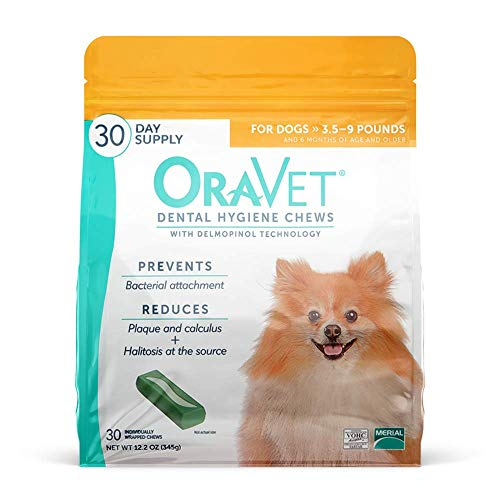 ORAVET Dental Hygiene Chews for Extra Small Dogs (3.5-9 pounds), 30-Count Pack