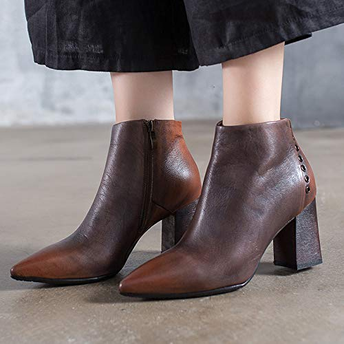 Toe UK Shoes Heel Pointed Brown Leather 5 Metal Women Size Gaslinyuan Color Gray Chunky 5 Boots Chelsea OxXzBz