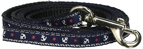 Ribbon Nylon Leash Anchors (Mirage Pet Products Anchors Nylon Ribbon Leash for Pets, 3/8-Inch by 4-Feet, Blue)