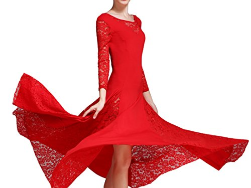 Lace National dance Waltz dress standard Modern dress skirt dress dance Red dress qAgq6