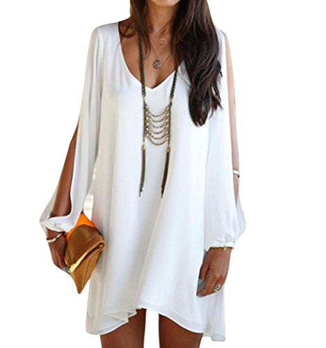 Clearance Sale!! Womens Casual V-Neck Long Sleeve Cutout Cold Shoulder Mini Chiffon Beach Tunic Dress (White, M)