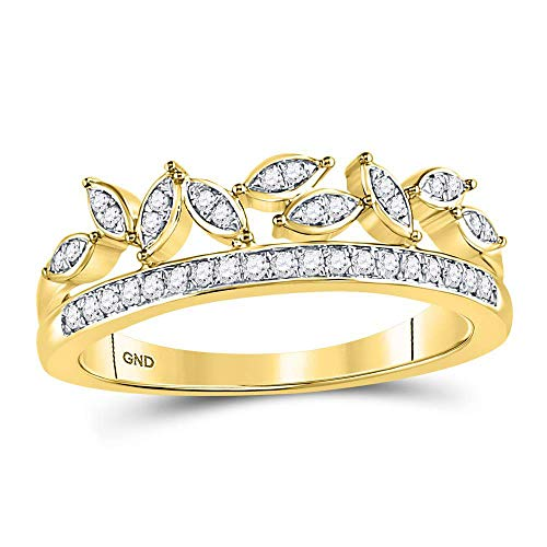 FB Jewels 10kt Yellow Gold Womens Round Diamond Floral Leaf Fashion Band Ring 1/6 Cttw (I2-I3 clarity; J-K color)