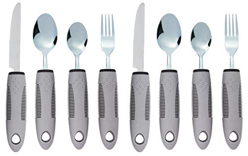 Adaptive Utensils (8-Piece Kitchen Set) Wide, Non-Weighted, Non-Slip Handles for Hand Tremors, Arthritis, Parkinson's or Elderly use | Stainless Steel Knife, Fork and Spoons (Gray - 2 Sets)