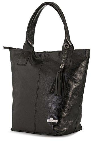 Metallic Top Zip Tote - LIATALIA Womens Genuine Italian Soft Leather Large Tote Shopper Tassel and Pouch Shoulder Handbag - AURORA [Metallic - Black]