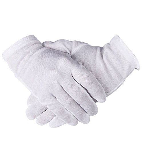 eZAKKA 12 Pairs Breathable and Soft White Cotton Gloves, Stretchable Working Gloves for Coin Jewelry Silver Inspection, 8.6 Medium Size