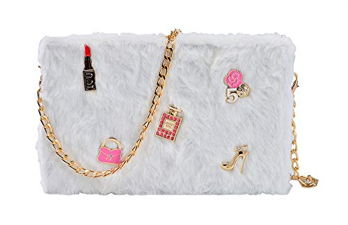 TOKYO-T Cute Crossbody Purse for Girls Funny Shoulder Bag Chain Fluffy Plush Cell Phone (White)