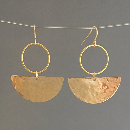 Hammered Gold Half Disc Hoop Earrings also in Sterling (Gold Hammered Disc)