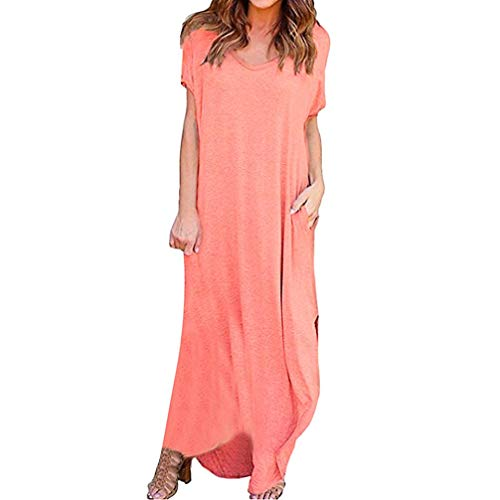 Combat Side Skirts - JOFOW Women Summer Maxi Long Dress Solid Short Sleeve Loose Two Side Slit Pocket (XL,Pink)