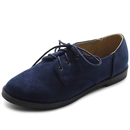 (Ollio Women Classic Flat Shoe Lace Up Faux Suede Oxford ZM2910(9 B(M) US, Navy))