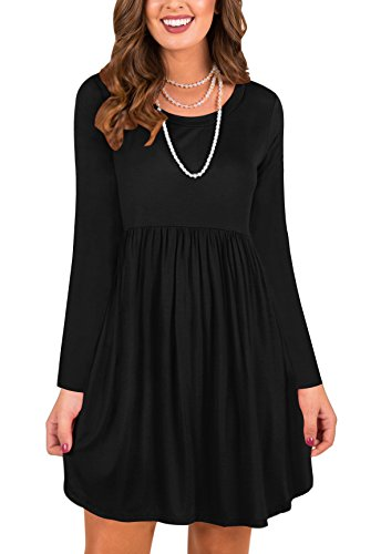 LAVENCHY Womens Dress Long Sleeve Loose Casual Skater Winter Swing Party Dance Flowy Cotton Tunic Dresses For Women Black,M (Short Sleeve In Empire Black Dress)