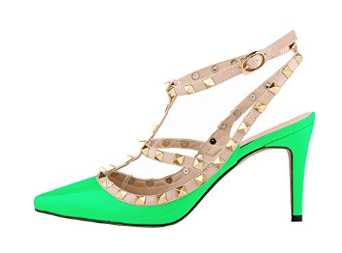 Women's Metal Studs Classic Strap Stiletto Pointy Toe Sandals High Heel Shoes green patent pu NuChbGJ