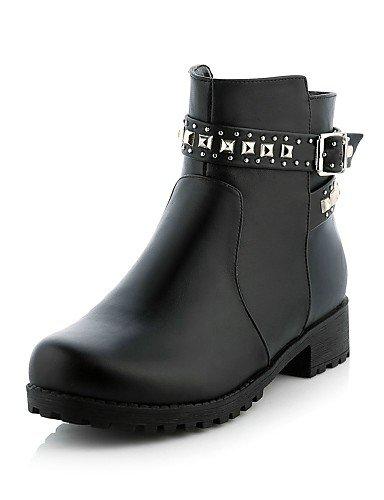 Noir-us5.5   eu36   uk3.5   cn35 XZZ  Chaussures Femme - Habillé   Décontracté - Noir - Talon Bas - Bottine   Bout Arrondi - Bottes - Similicuir