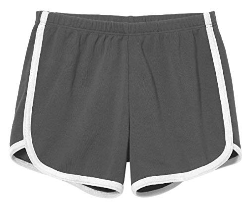 - City Threads Girls Running Workout Shorts Yoga Sport Fitness Short Retro Dolphin Short Summer Lounge Gym Play Beach Park SPD Clothing, Charcoal/White Trim, 4T