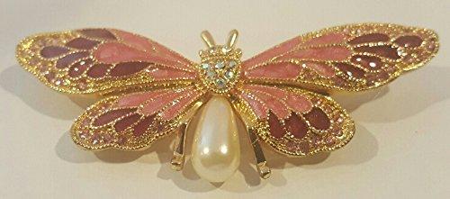 Gold Tone Pink Enamel Rhinestone Butterfly Brooch Pin