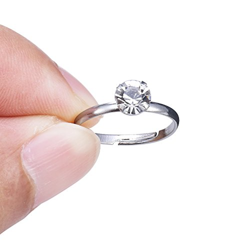 low cost bridal shower rings 40 pack silver diamond engagement rings for wedding table decorations