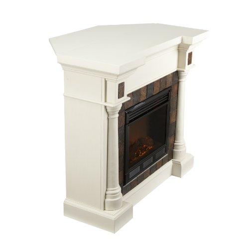 SEI Carrington Faux Slate Convertible Electric Fireplace, Ivory
