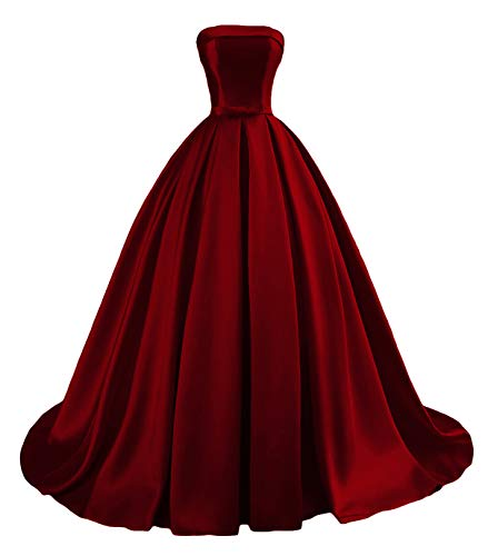 - Dymaisei Women's Strapless Ball Gown Prom Party Dresses 2019 Long Formal Dresses US8 Deep Red