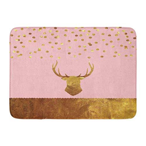 Antique Rectangle Rug Gold (Emvency Bath Mat Glitter Pink Rose Gold Foil Confetti Stag Christmas Antique Bathroom Decor Rug 16
