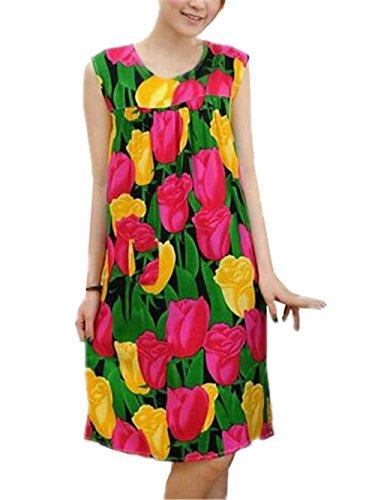 BESTHOO Vestito da Pigiama Donna Sleepwear Stampa Floreale Abito da Notte Senza Maniche Camicia da Notte Taglie Forti Femminili Vestito da Notte Comoda Verde