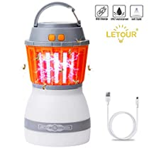 [Upgraded] Mosquito Zapper Outdoor LETOUR 4 Modes Portable Quiet Efficient Mosquito Killer Washable Waterproof IP67 Rechargeable Mosquito Light with Usb Cable