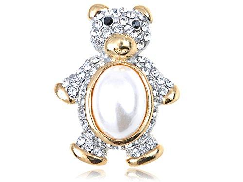 - Alilang Golden Tone Clear Crystal Rhinestone Faux Pearl Cute Teddy Bear Brooch Pin