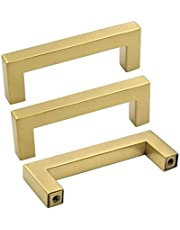 goldenwarm 10 Pack Gold Drawer Pulls Cupboard Door Handles - Gold Cabinet Hardware 76mm Drawer Pulls Bathroom Cupboard Handles Gold Kitchen Cabinet Handles
