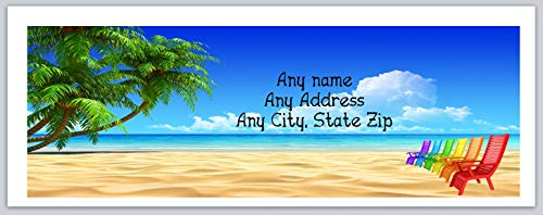 150 Personalized Address Labels Scenic Beach Palm Trees Beach Chairs (c 694) ()