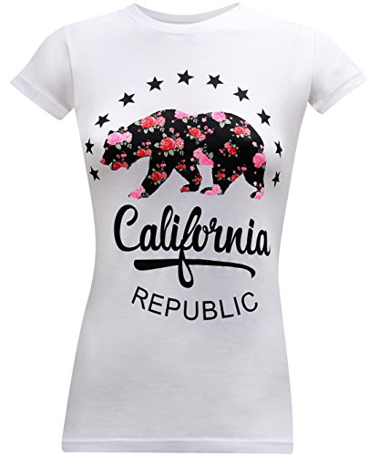 (California Republic Floral Bear Women's Fitted T-Shirt - (Large) - White)