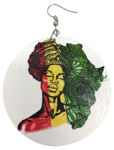 AFRICAN HAIR WOODEN EARRINGS/Natural Hair/African American Woman Earring/Wood Jewelry