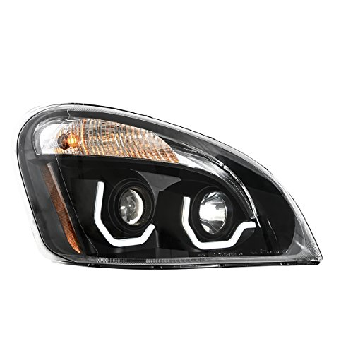 Grand General 89403 Freightliner Cascadia Matte Black Projector Headlight with White LED Running Light For 2008 and NEWER  Passenger Side, 1 Pack