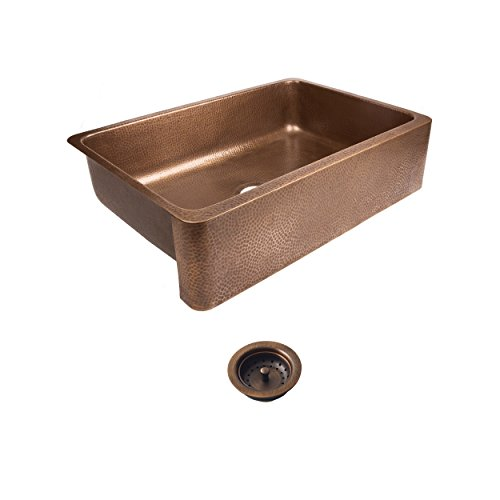 Sinkology SEK307-33-AMZ-B Lange Farmhouse Copper 32 in. Single Bowl Strainer Kitchen Sink with Drain, Antique (Copper Sink Hammered)