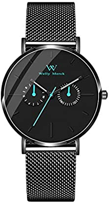 Welly Merck Men Swiss Quartz Watch with Luminous Hands 40mm Watch Case Two Small Subdials Interchangeable Mesh Strap 20mm Black Band 50M Water Resistant