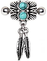 Turquoise & Feather Cartilage Cuff Earring (Sold by Piece)