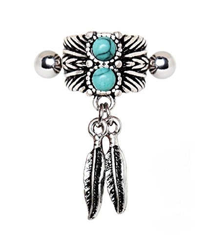 Cartilage Cuff (Turquoise & Feather Cartilage Cuff Earring (Sold by Piece))