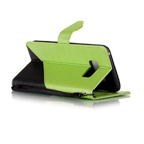Funda Samsung Galaxy S8,Funda Libro Suave PU Leather Cuero impresión- EMAXELERS Carcasa Con Flip case cover,Funda Galaxy S8 gofrado diseño afortunado del trébol Flip case cover,wallet Case para Galaxy B Hit Color:Green and Black