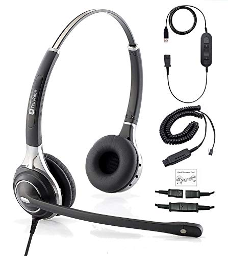 Premium Double Ear Headset with Ultra Noise Canceling Mic with USB & HIS Cable for Avaya IP 1608, 1616, 9601, 9608, 9611, 9611G, 9620, 9621, 9630, 9631, 9640, 9641, 9650, 9670, J139, J169 and J179
