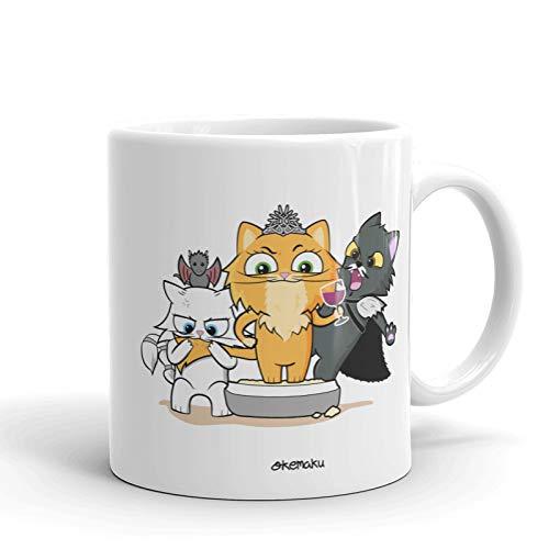 Okemaku Taza con Mensaje Juego de Gatos Parodia Tronos - 350ml ...