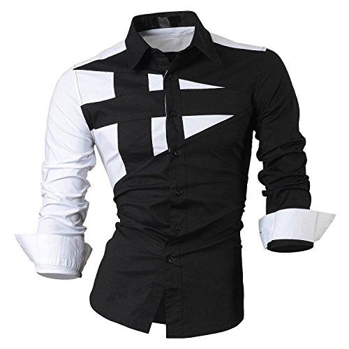 SODIAL(R) Haut Qualite Hommes Mince Fit Unique Encolure Elegant Robe Manches Longues Casual Chemise Noir Taille XL/US M