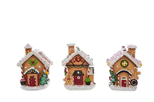 (Transpac Imports D2199 Resin Light Up Gingerbread House Decor, Brown)