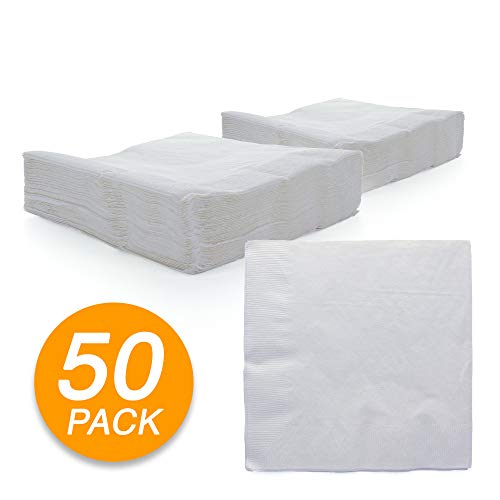 (Amcrate Big Party Pack 125 Count White Beverage Napkins - Ideal for Wedding, Party, Birthday, Dinner, Lunch, Cocktails. (5