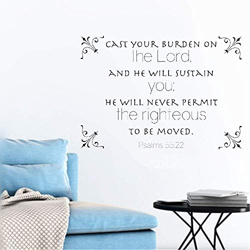 Wall Stickers Decals Art Words Sayings Removable Lettering Cast Your Burden On The Lord and He Will Sustain You Christian God Scripture Bible Verse