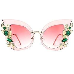 Cat Eye Jeweled Sunglasses with Diamond