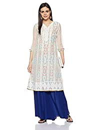 Women Designer White Designer Cotton Kurti Straight Indian Ethnic Kurta Long Dress