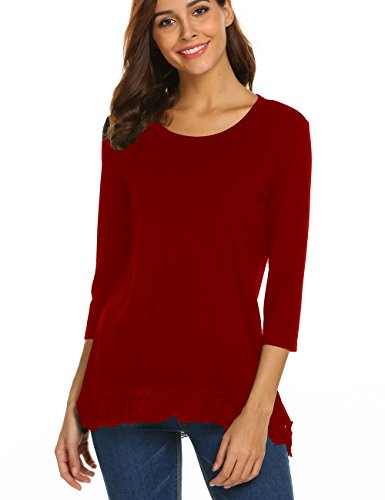 Halife 3/4 Sleeve Tops for Women Fitted/Relaxed Cotton Basic Shirt Pullover Wine Red,M