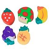 Potelin 5 pcs Mini Fruit Shape Colorful Eraser Fruit Shape