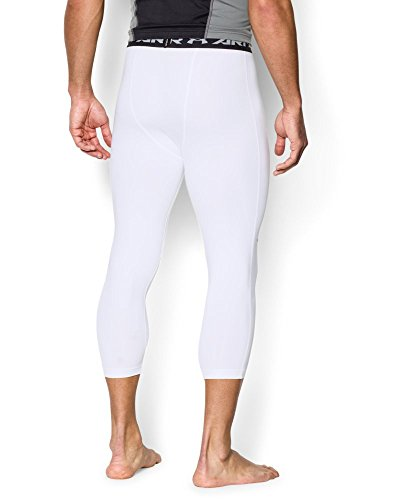 Under Armour Men's HeatGear Armour ¾ Compression Leggings, White /Black, X-Large by Under Armour (Image #1)