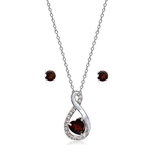 Lovve Sterling Silver Garnet & White Topaz Infinity Heart Necklace Earrings Set ()
