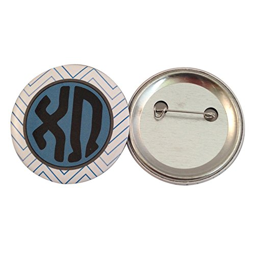 Chi Omega Sorority Chevron Name 2 Inch Round Pinback Single Button chi o (Dangling Safety Pin)