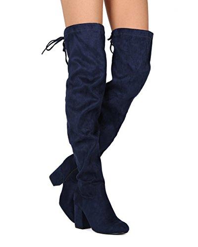 Alrisco Femmes Cuisse Haut Sur Le Bloc De Genou Botte Chunky Talon - Cosplay Costume Habillé Parti Cordon - He87 Par Rafraîchissement Copllection Navy Simili Suède